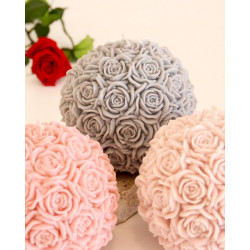 Rose ball candle, 14cm