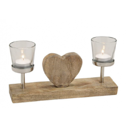 Wooden Candle Holder with 2...
